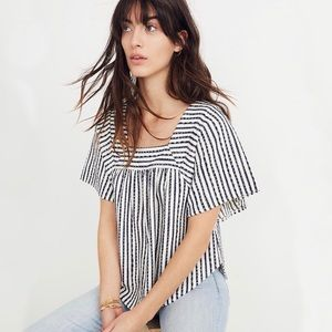 Madewell Isley Stripe Butterfly Square Neck Top